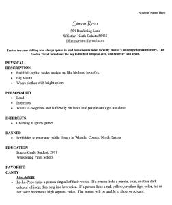 character resume