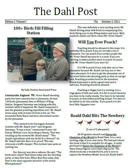 newspaper article book report Newspaper article : newspaper category 4 3 2 1 headline article has a headline that captures the reader's attention and accurately describes the content.