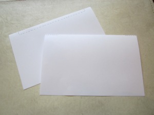 Step 1: Divide your paper into two even piles, line up the corners, and fold both piles in half the hamburger way.