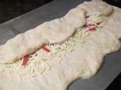 folding pizza bread