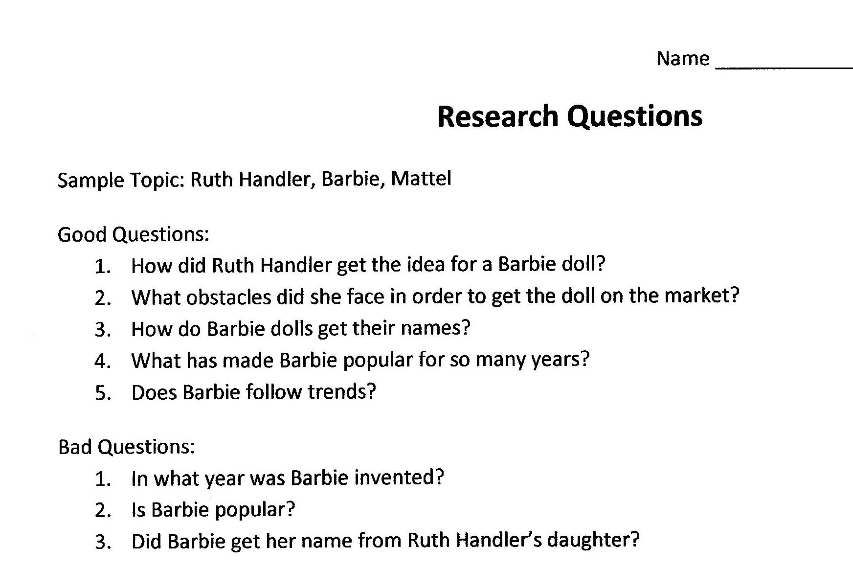 research questions section of thesis One of the major parts of developing any research paper is defining the research paper question home the purpose of the paper for a dissertation or.