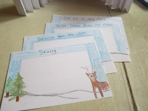 Step 1: Write one line of your haiku across the top of each of 3 cards, and your title (if you want one) across the other. Trace with Sharpie.