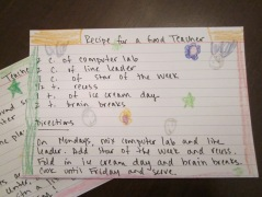recipe for a good teacher one card