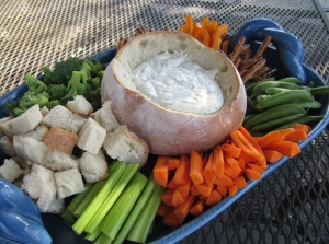 dill dip in bread bowl w veggies