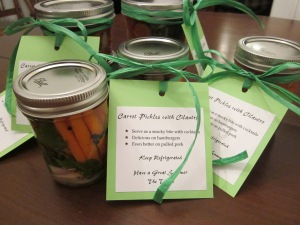 carrot pickles with labels