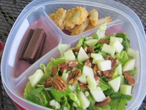 fried chicken salad in container