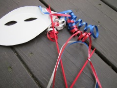 DIY paper plate masks ribbons