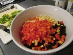 baja chicken salad mixing ingredients