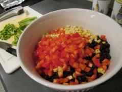 baja chicken salad mixing ingredients