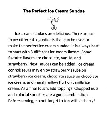 perfect ice cream sundae paragraph