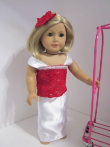 American Girl satin and red gown