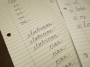 cursive handwriting spelling patterns