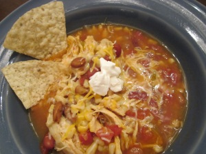 taco soup and tortilla chips