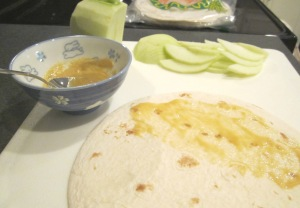 turkey quesadilla spread and apples