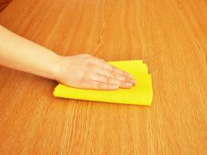 wiping a table