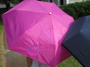 monogrammed umbrella pink