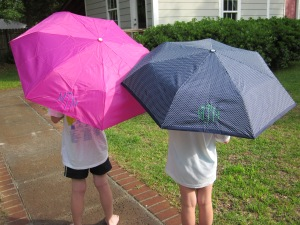 monogrammed umbrellas open