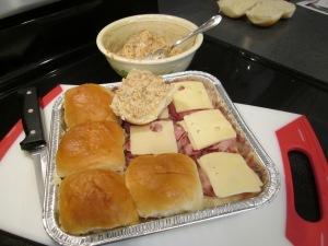 ham sandwiches assembly