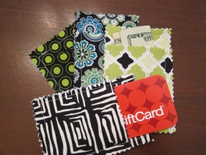gift card pouch finished and filled