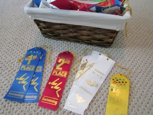 sorting swim ribbons