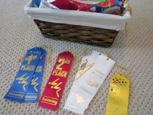 sorting swim ribbons