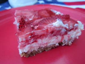 strawberry pretzel salad slice