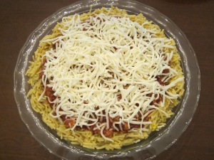 spaghetti pie cheese topping