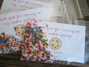 cookie party thank you favor finished