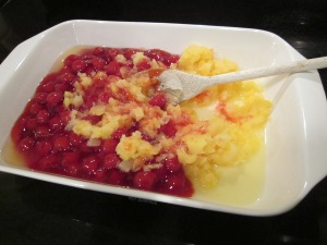 dump cake mix fruit