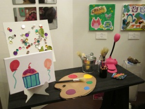 art gallery artist table with canvas