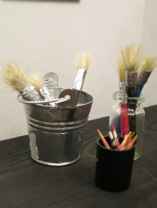 art gallery brushes and pencils