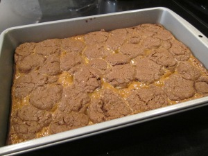 caramel brownies finished in pan