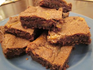 caramel brownies stack