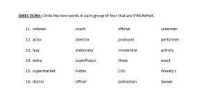 synonym test sample