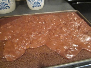 choc sheet cake frosting poured