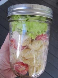 chicken caesar pasta salad mason jar close