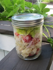 chicken caesar pasta salad mason jar