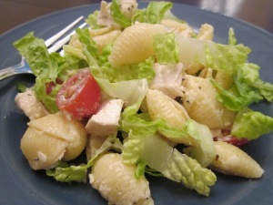 chicken caesar pasta salad plate close up