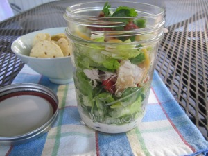 layered mexican salad in a jar w chips