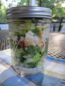 layered mexican salad in a jar w lid