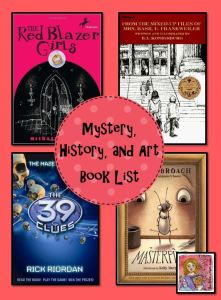 mystery, history, and art book list pin