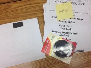 class handbook with magnet