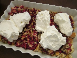 cranberry ice box dessert whipped cream layer