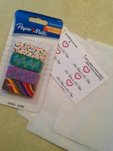eraser valentines supplies