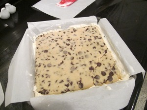 cookie dough bars assembled
