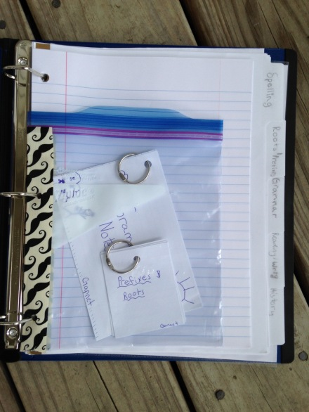DIY Ziploc bag flashcard pouch