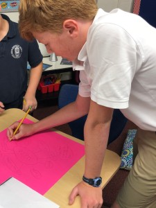 using post-it big notes with students in the classroom
